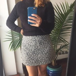 Black and white leopard print mini skirt